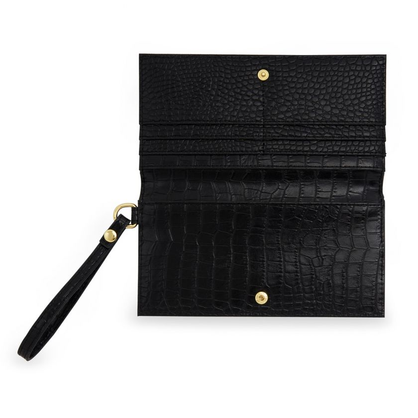 CELINE FAUX CROC WRISTLET PURSE - BLACK