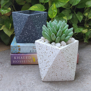 Concrete speckled finish desk planter white vara store 4