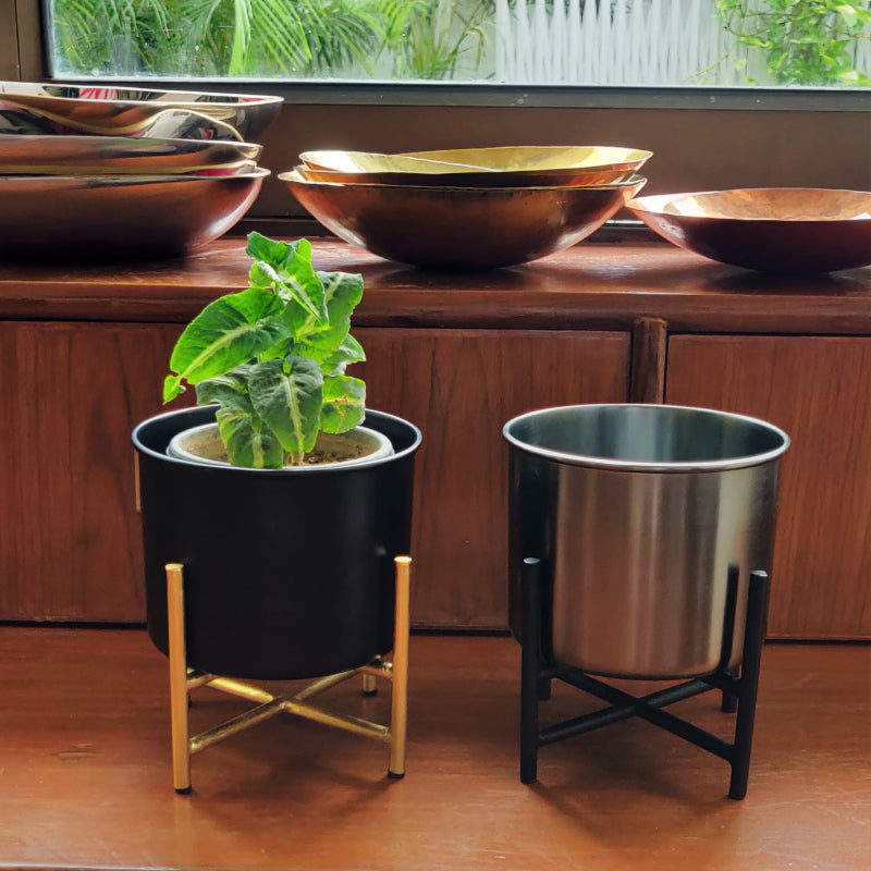 black and gold desk planter with stand vara store 3