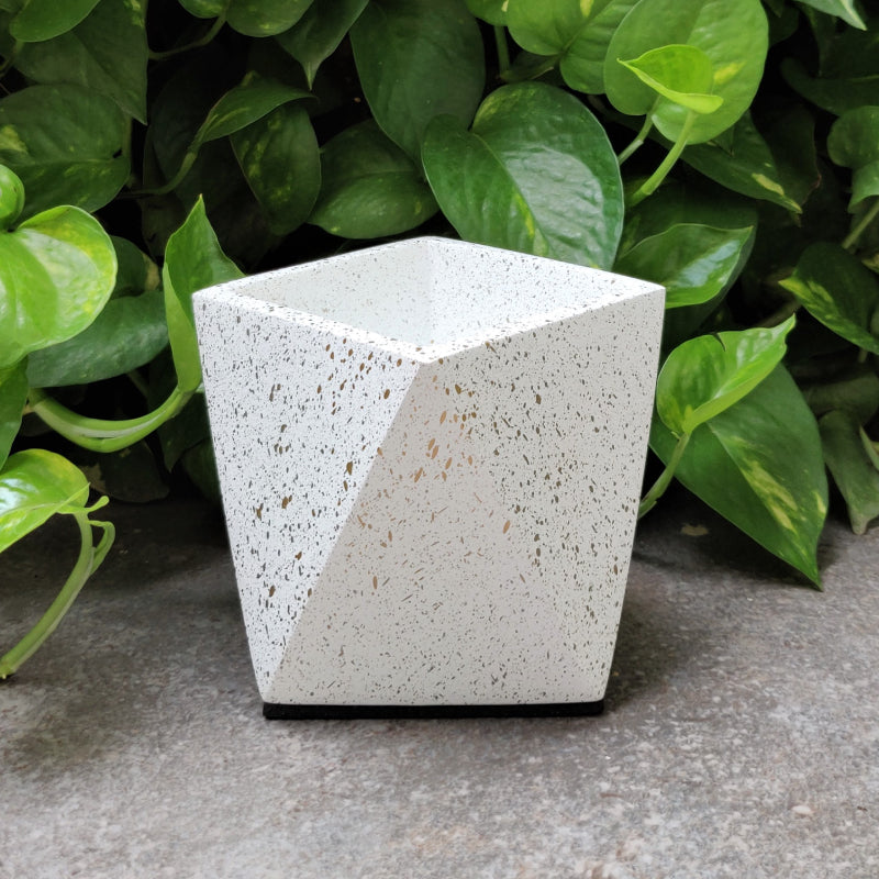Concrete speckled finish desk planter white vara store 3