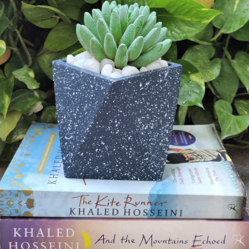 Concrete speckled finish blue planter vara store 1