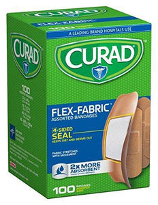 "Curad Flexible Fabric Adhesive Strip Bandages Latex Free 3/4"" x 3"", 100/bx"