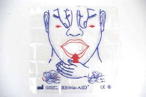 CPR RESQ-Aid Face Printed Training Shields with High Efficiency Filter, 100/bag