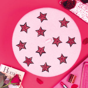 Baby Pink Beret with Red Stars (Adult)