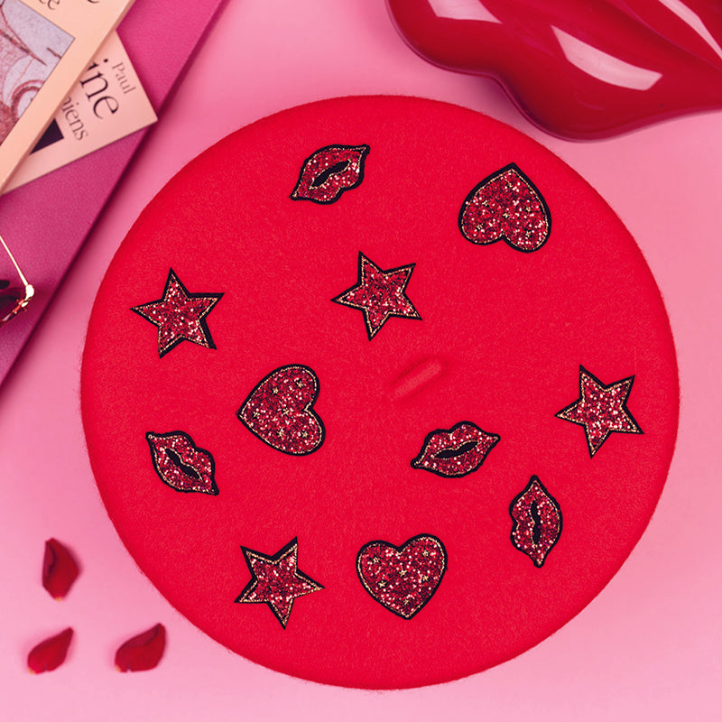 Red Beret with hearts, stars & lips (Adult)