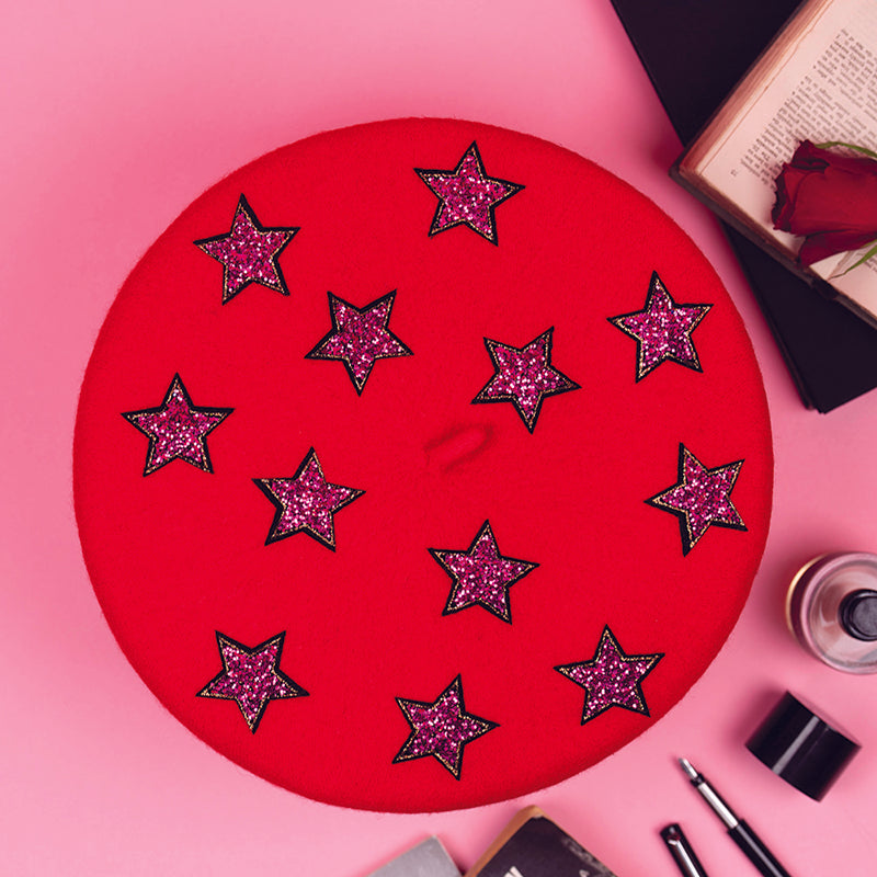 Red Beret with Hot Pink Stars (Adult)
