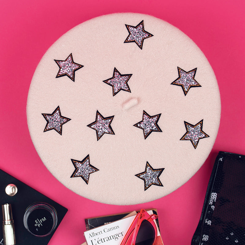 Cream Beret with  Silver Stars (Adult)