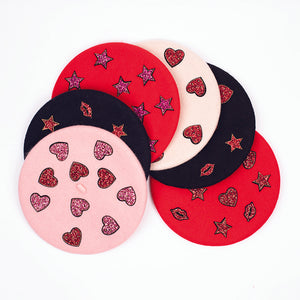 Cream Beret with Red Love Hearts (Adult)