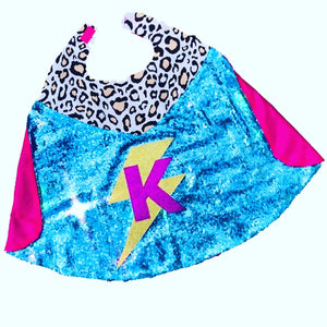 Maxi Hero Cape with Initial and Lightening Bolt