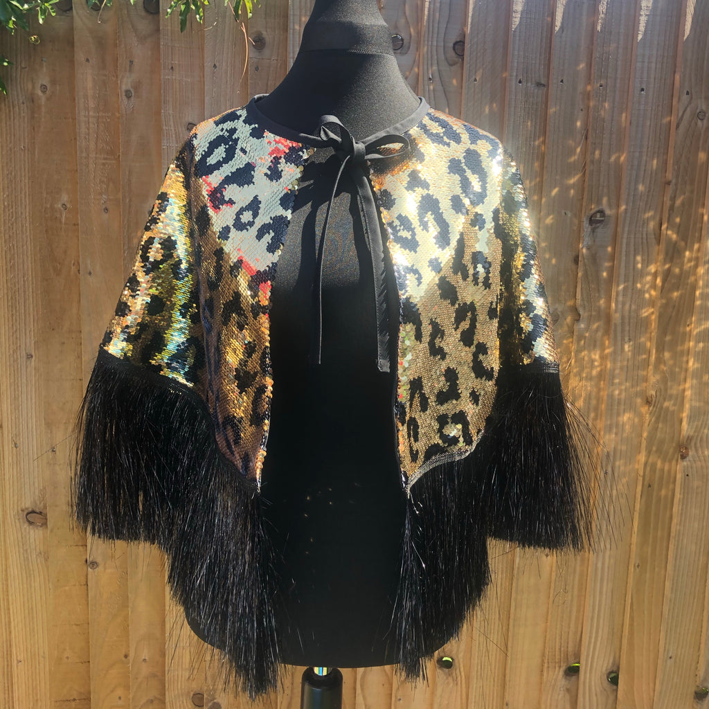 Chunky Leopard Sequin Cape