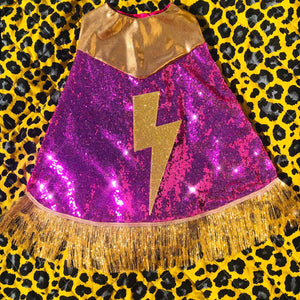 Mini Hero Cape with Lightening bolt and tassel trim