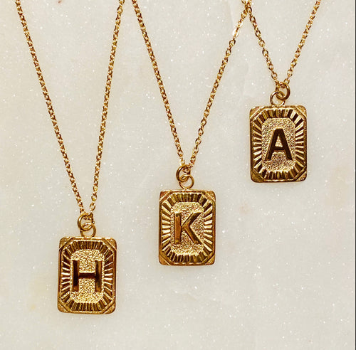 Art Deco initial necklace