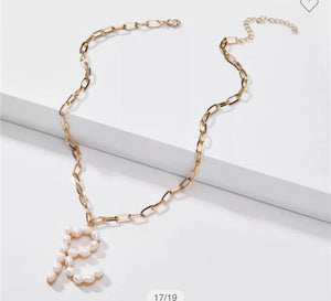 Pearl Initial link necklaces