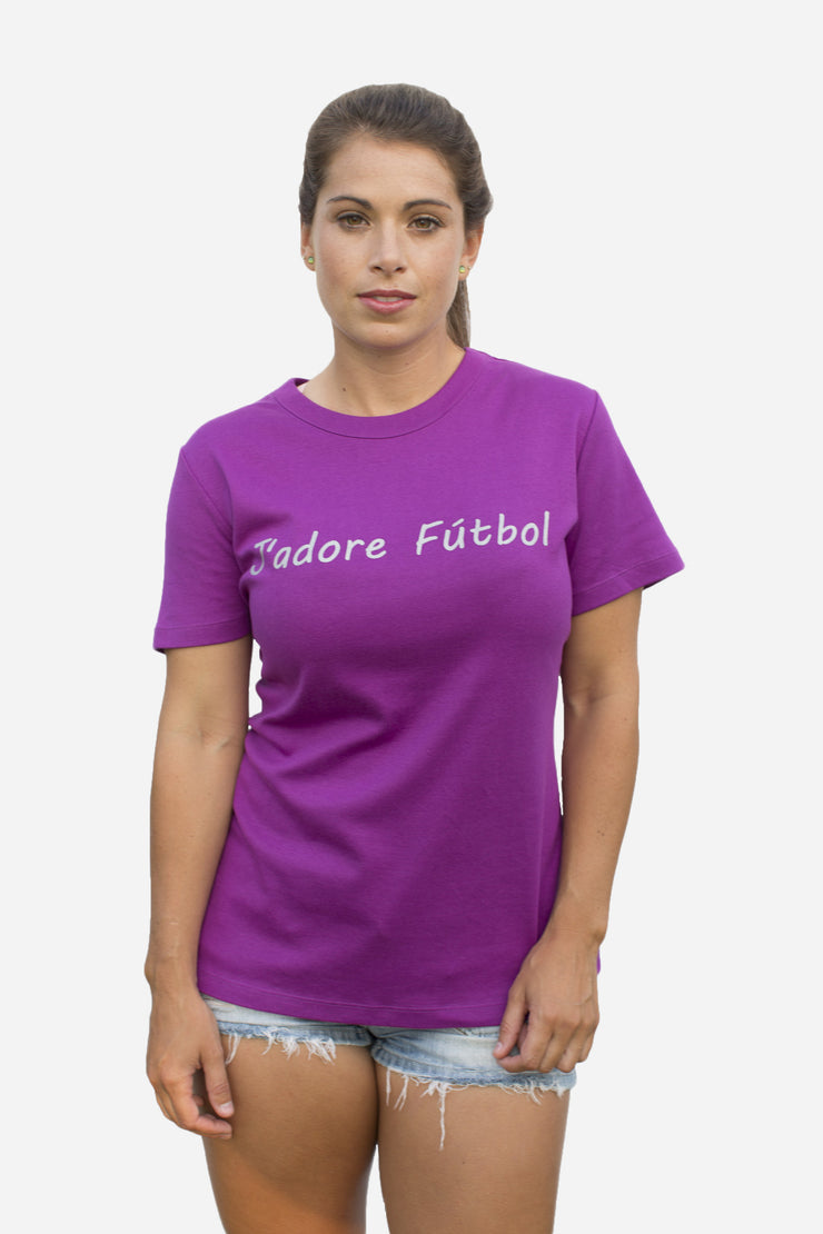 J'adore Futbol in purple beet