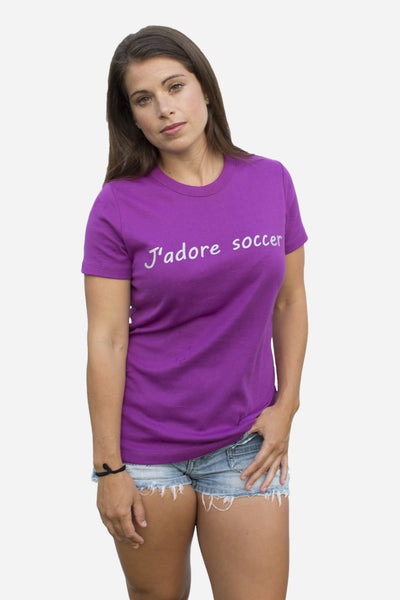 J'adore Soccer in purple beet