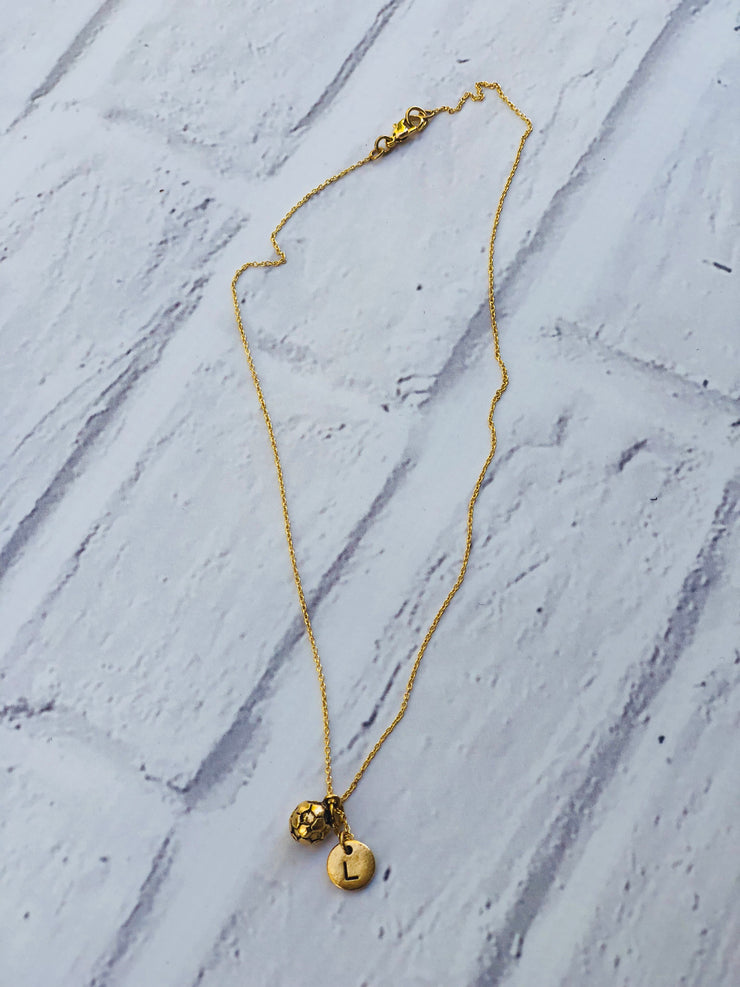 Soccer ball necklace - gold
