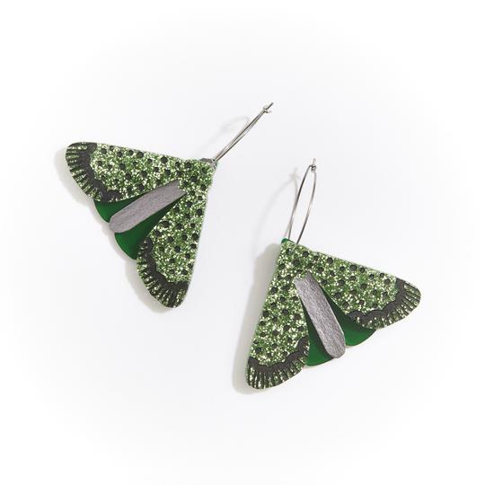Martha Jean - Moth Earrings Green