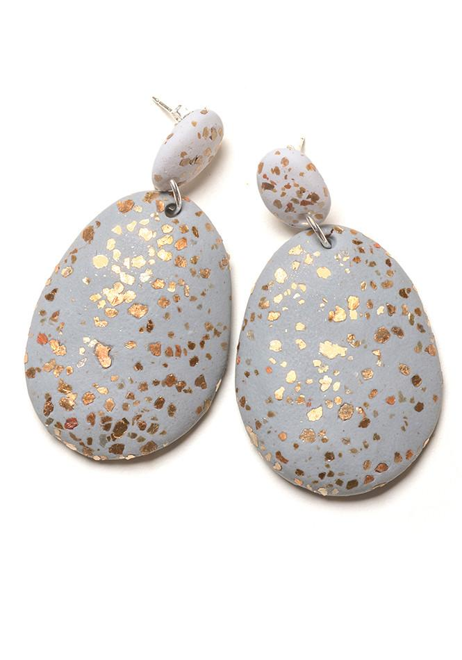 Emily Green - Grey with Gold Terrazzo Drop Earrings