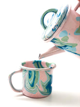 Load image into Gallery viewer, BORNN Enamelware marble tea pot blush