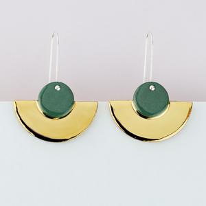 Erin Lightfoot - Earrings green crescents