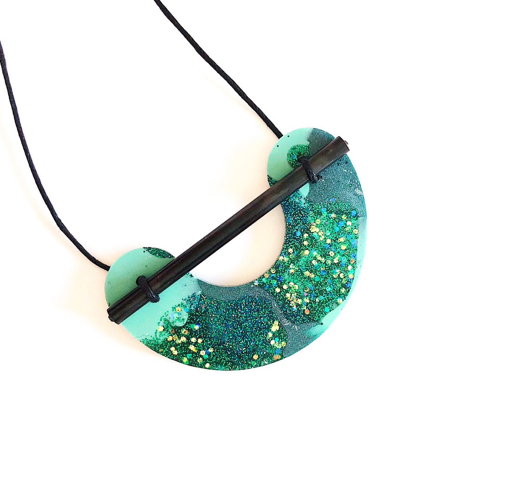 Martha Jean - Resin Necklace Green