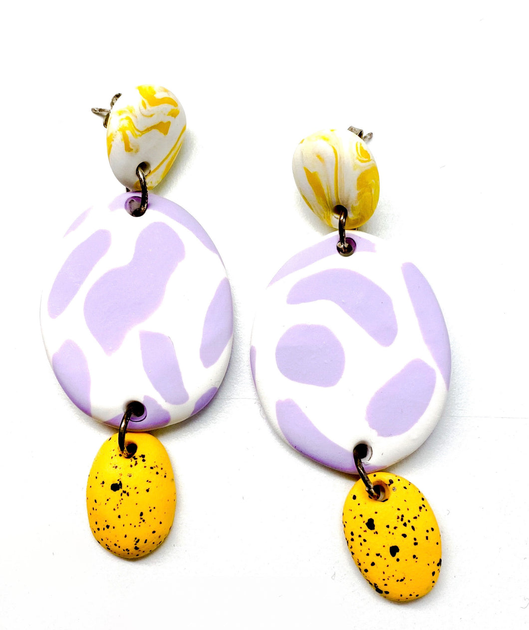 Emily Green - Lilac and White Texta 3-Part Drop Earrings