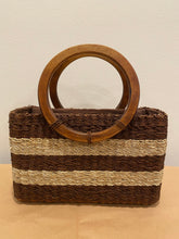 Load image into Gallery viewer, Striped Wicker Purse with Wooden Handle