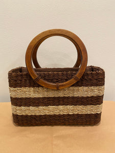 Striped Wicker Purse with Wooden Handle