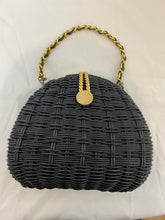 Load image into Gallery viewer, Black Wicker Purse with Gold Hardware