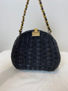 Black Wicker Purse with Gold Hardware