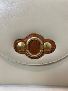 Tan and Brown Leather Structures Purse, 1980's