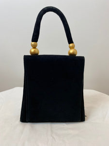 Black Suede Purse with Gold