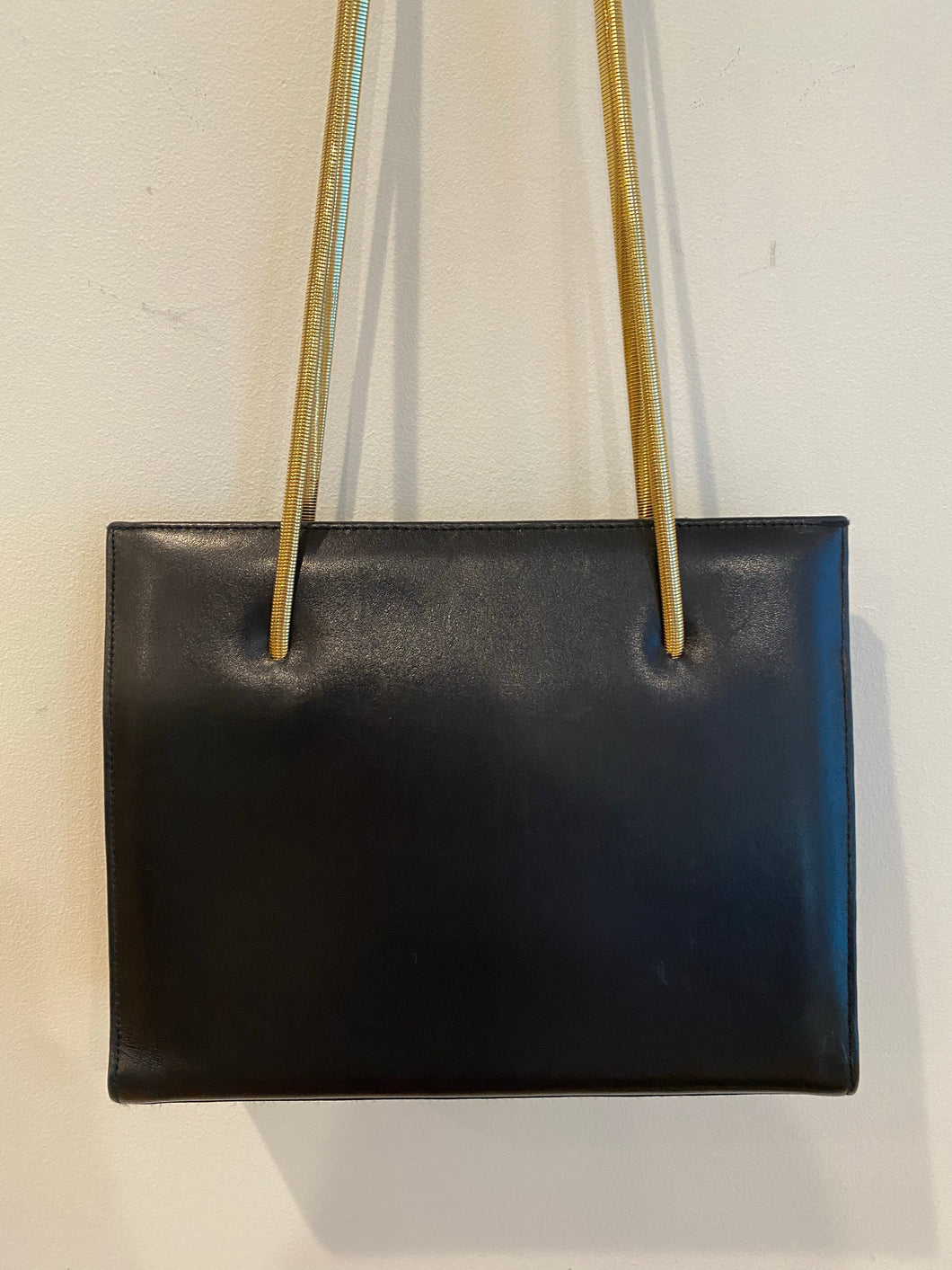 Black Leather Handbag with Gold Snakechain