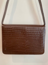 Load image into Gallery viewer, Brown Faux Crocodile Handbag