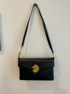 Prestige Black handbag with Horse clasp, 1960's