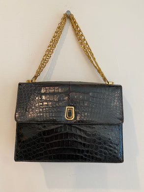 Black faux skin purse with chain handle