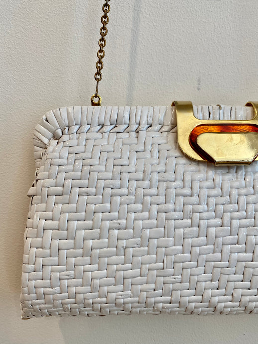 White Wicker Bag with Chain Strap