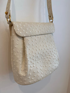 Faux White Ostrich Skin Handbag with gold Clasp