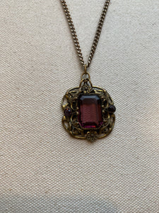 Clear Purple Stone Necklace, 1940's