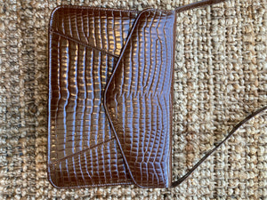 Brown Faux Crocodile Handbag