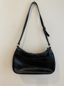 Etienne Aigner Black shoulder purse with genuine leather, 1990's