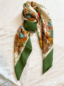 Green and Floral Vintage Scarf, 1970's