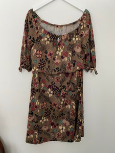 Off the shoulder brown dress, 1960's