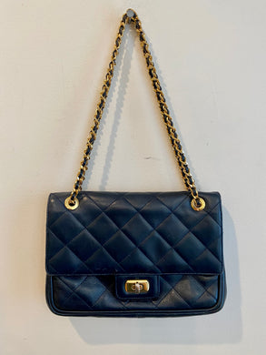 Navy Blue Quilted Handbag with Gold Chain Strap