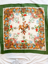 Load image into Gallery viewer, Green and Floral Vintage Scarf, 1970's