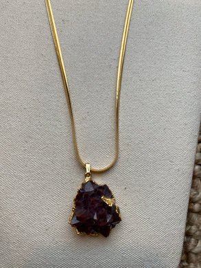 Amethyst Cluster with Hematite Inclusions Necklace