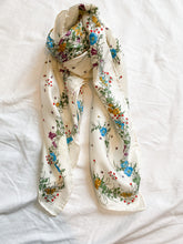 Load image into Gallery viewer, White floral silk scarf, 1970's