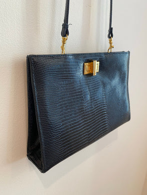 Faux snake skin crossbody with removable strap