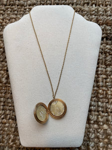 Floral Gold Filled Locket Necklace