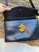 Load image into Gallery viewer, Prestige Black handbag with Horse clasp, 1960's
